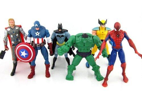 6-pcs-Avengers-super-hero-Action-Figures-Hulk-spiderman-thor-Batman-Wolverine-0