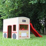 ActivKids-Bus-Drivers-Wooden-Playhouse-with-Long-Slide-and-Chalk-Blackboard-For-Creativity-0-0