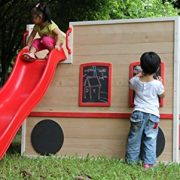 ActivKids-Bus-Drivers-Wooden-Playhouse-with-Long-Slide-and-Chalk-Blackboard-For-Creativity-0-1