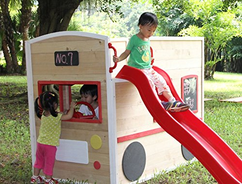 ActivKids-Bus-Drivers-Wooden-Playhouse-with-Long-Slide-and-Chalk-Blackboard-For-Creativity-0