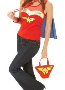 Adult-Ladies-Wonder-Woman-Super-Hero-Top-with-Cape-Fancy-Dress-Costume-Outfit-0
