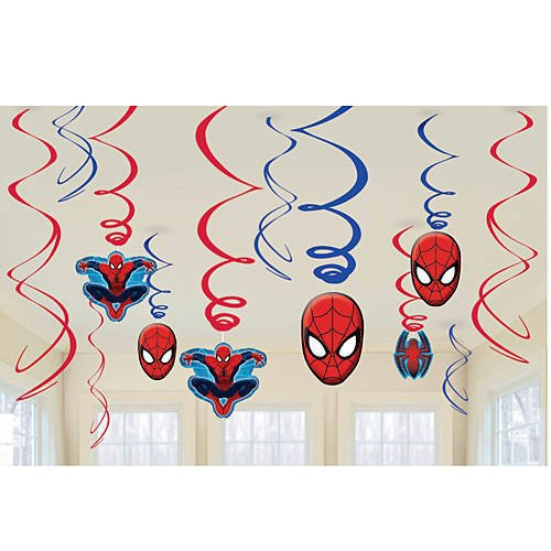 Amscan-Marvel-Ultimate-Spiderman-Birthday-Party-Swirl-Decorations-12ct-0