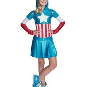 Captain-America-Costume-Kids-Girl-American-Dream-Hooded-Dress-Outfit-Large-Age-8-10-HEIGHT-4-8-5-0
