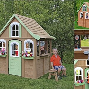 Children-Wooden-Playhouse-a-Unique-Play-House-in-a-cute-country-style-on-Sale-Our-garden-farm-outdoor-log-cabin-from-Cedar-Childrens-Welcome-Home-Playhouses-comes-with-wood-cover-roof-front-dormer-and-0