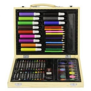 Childrens-67-PC-Craft-Art-Artists-Set-in-Wooden-Box-Case-Crayons-Paints-Pens-Pencils-0