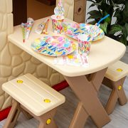 Childrens-Playhouse-1-table-2-benches-for-boys-and-girls-House-made-of-Plastic-for-indoors-and-outdoors-0-6