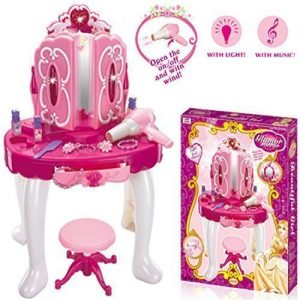 Deluxe-Girls-Pink-Musical-Dressing-Table-Vanity-Light-Mirror-Play-Set-Toy-Glamour-Make-Up-Desk-With-Stool-0