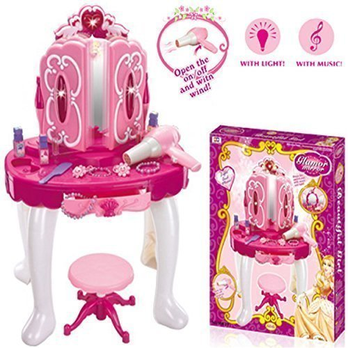 Deluxe Girls Pink Musical Dressing Table Vanity Light Mirror Play Set Toy Glamour Make