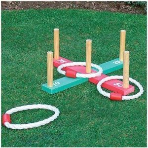 GARDENOUTDOOR-ROPE-QUOITS-WOODEN-PEGS-THROWING-GAME-0