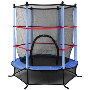 Outdoortips-Trampoline-With-Safety-Net-55-45FT-Kids-Junior-Outdoor-Activity-Fun-Blue-0