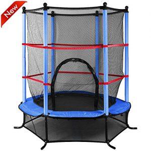 Popamazing-45ft-Outdoor-Trampoline-with-Safety-Net-for-Junior-Kids-Garden-Activity-Centre-Blue-0