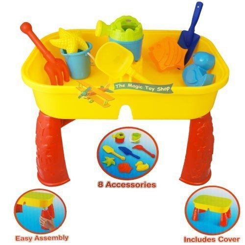 Sand-and-Water-Table-Garden-Sandpit-Play-Set-Toy-Watering-Can-Spade-Sand-Bucket-0