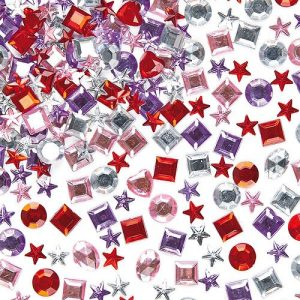 Self-Adhesive-Acrylic-Jewels-Assorted-Designs-Colours-Embellishments-for-Childrens-Crafts-Pack-of-200-0