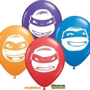 Tennage-Mutant-Ninja-Turtles-Faces-5-Qualatex-Latex-Balloons-x-10-0