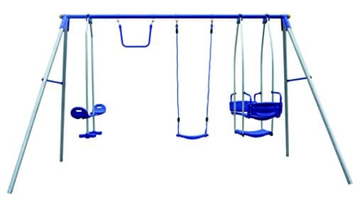 4 Unit Metal Swing Frame - Fits 6 Children! with Trapeze Bar, Swing ...
