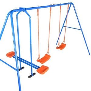 Childrens-Swing-Set-with-Glider-2-Swings-and-Seesaw-0