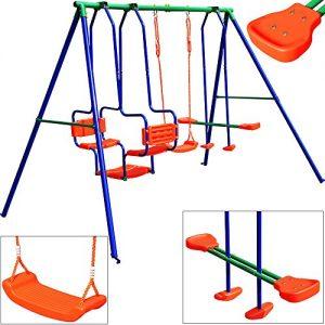 Swing-Set-XXL-5-Children-Metal-Frame-Activity-Center-Outdoor-Play-Games-Garden-Swing-Birthday-Christmas-Gift-0