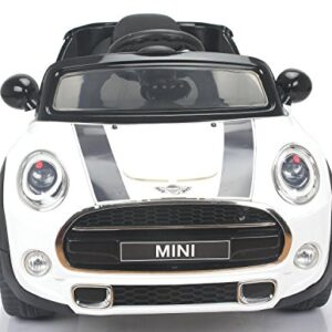 Electric-Ride-On-Toy-Car-MINI-COOPER-remote-control-White-Original-license-0