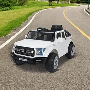 HOMCOM-Kids-Toy-Electric-Ride-on-Car-Sport-Style-2-Motors-12V-Battery-Rechargeable-Jeep-White-0