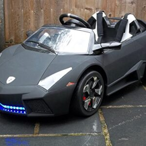 Kids-2-Seater-Lamborghini-Style-Sports-Car-with-Remote-Control-12v-Electric-Battery-Ride-on-Car-Matt-Black-Lambo-0