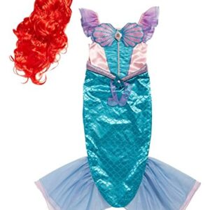 Officially-licensed-Disney-Ariel-the-Little-Mermaid-fancy-dress-Girls-Book-Week-Costume-with-Red-Wig-and-Magic-Brooch-made-by-Disney-Princess-for-TU-Collection-0