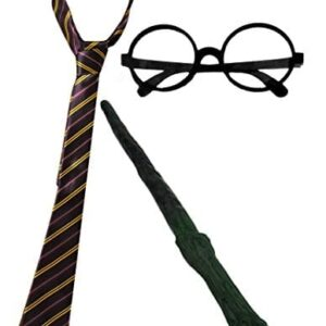 WIZARD-SET-FANCY-DRESS-ACCESSORY-COSTUME-SCHOOL-BOY-TIE-ROUND-WIZARD-GLASSES-PLASTIC-BRANCH-WAND-MAGICIAN-OUTFIT-0