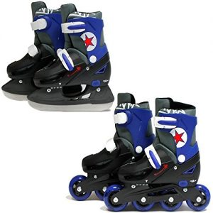 SK8-Zone-Boys-Blue-2in1-Roller-Blades-Inline-Skates-Adjustable-Size-Childrens-Kids-Pro-Combo-Multi-Ice-Skating-Boots-Shoes-New-0