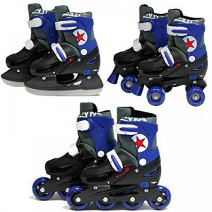SK8-Zone-Boys-Blue-3in1-Roller-Blades-Inline-Quad-Skates-Adjustable-Size-Childrens-Kids-Pro-Combo-Multi-Ice-Skating-Boots-Shoes-New-0