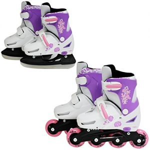 SK8-Zone-Girls-Pink-2in1-Roller-Blades-Inline-Skates-Adjustable-Size-Childrens-Kids-Pro-Combo-Multi-Ice-Skating-Boots-Shoes-New-0