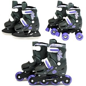 SK8-Zone-Girls-Purple-3in1-Roller-Blades-Inline-Quad-Skates-Adjustable-Size-Childrens-Kids-Pro-Combo-Multi-Ice-Skating-Boots-Shoes-New-0